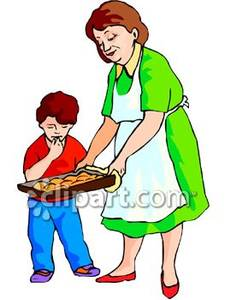 Fresh Baked Cookies To Her Grandson   Royalty Free Clipart Picture