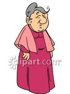 Grandmother Wearing A Shawl   Royalty Free Clipart Picture