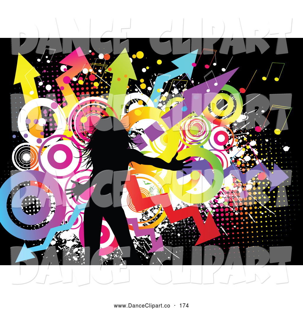 Grunge Background Of Colorful Circles Music Notes And Arrows On Black
