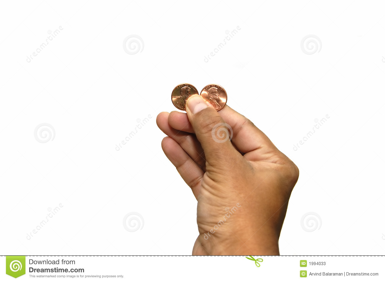 Hand Holding Two Cents Isolated Against A White Background