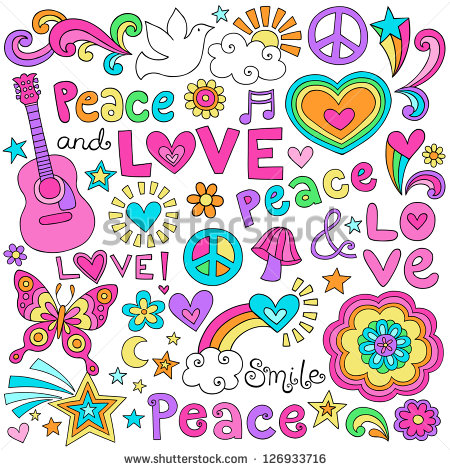 Peace Love And Music Flower Power Groovy Psychedelic Notebook Doodles
