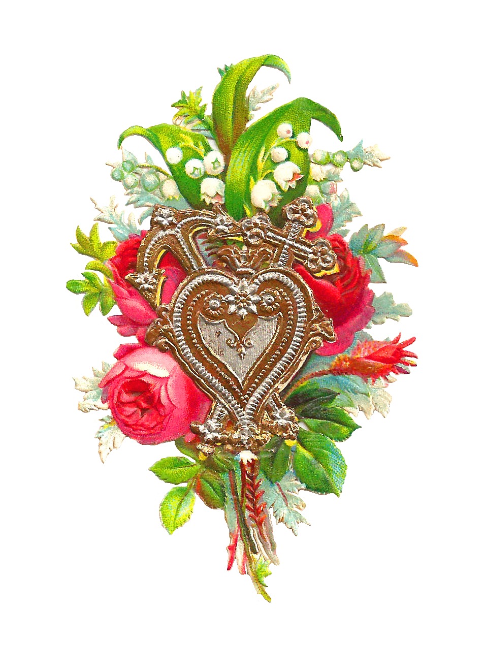 Red Rose Bouquet Victorian Scrap With Gold And Silver Heart Design