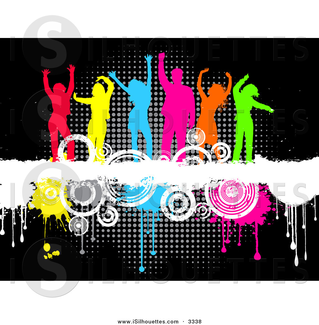 Silhouette Clipart Of A Line Of Six Colorful Silhouetted Men And Women