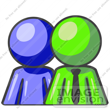 Art Graphic Of A Lime Green Guy Character With A Blue Employee  36612