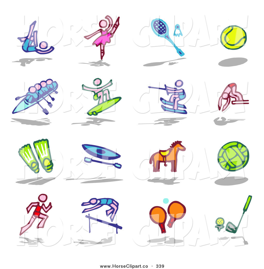 Clip Art Of A Digital Collage Of Colorful Dance Sports And Track And