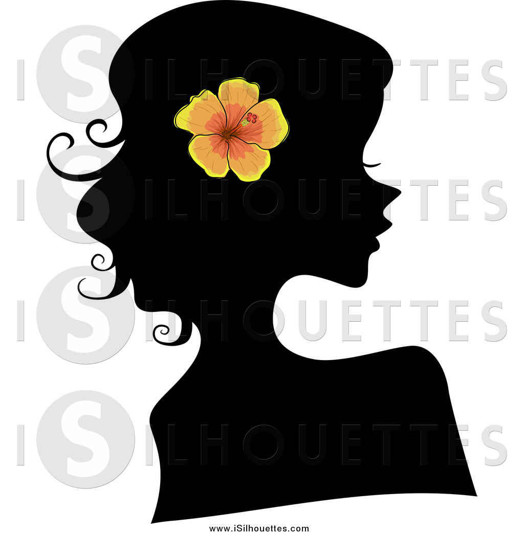 Clipart Of A Black Silhouetted Woman Wearing An Orange Hibiscus Flower