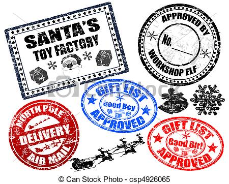 Clipart Vector Of Christmas Stamps Set   Collection Of Isolatet Gruge