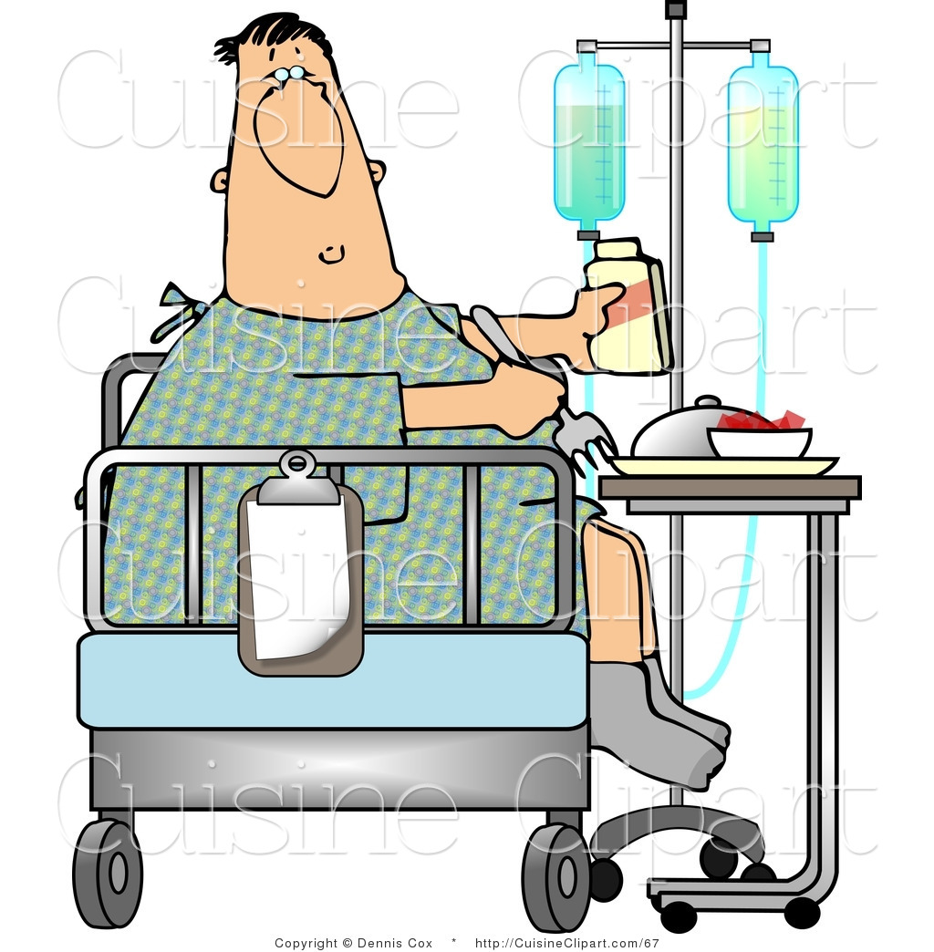 Cuisine Clipart Of A Recovering Sick Hospitalized Patient Eating Lunch