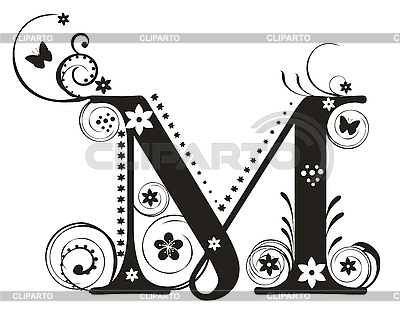 m letter design initial m clip clipart clipart suggest 23523 | decorative letter with flowers for design yelena panyukova xYqutG clipart
