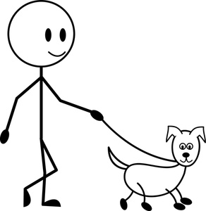 Dog Cartoon Clipart Image   Stick Figure Kid A Boy Walking His Dog