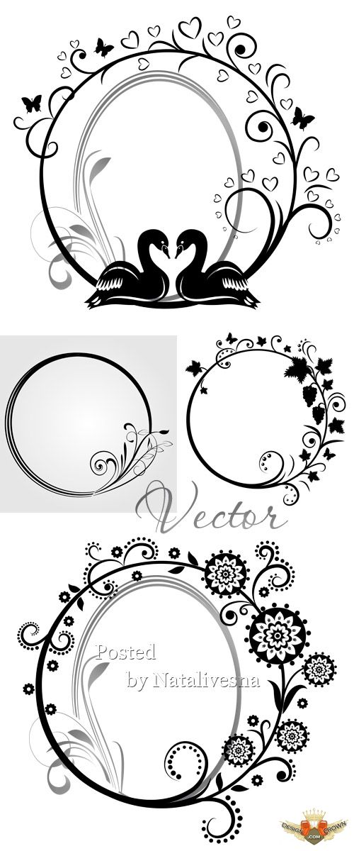 Elegant Love Vector Frames With Swans Free Clipart