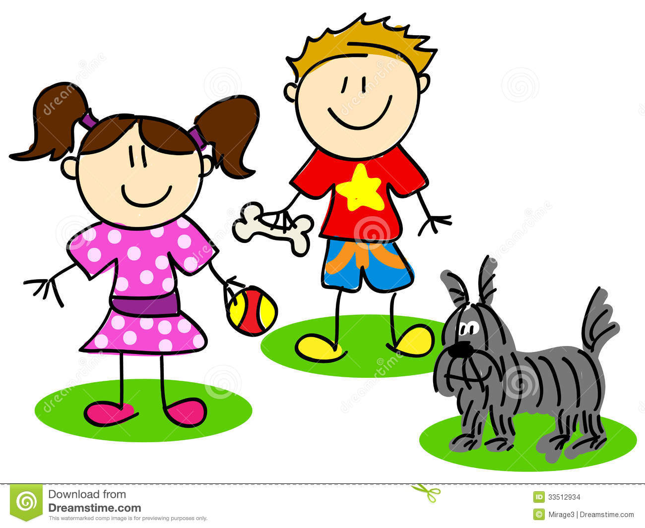 Fun Stick Figure Cartoon Kids Little Boy And Girl Playing With Dog
