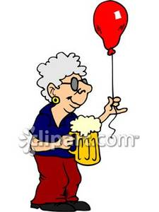 Old Woman Partying And Enjoying A Beer Royalty Free Clipart Picture