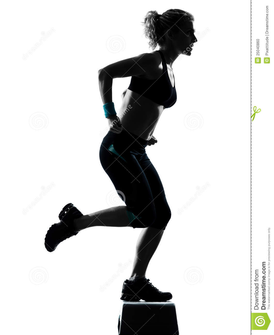 One Woman Exercising Workout Fitness Aerobic Exercise Posture On