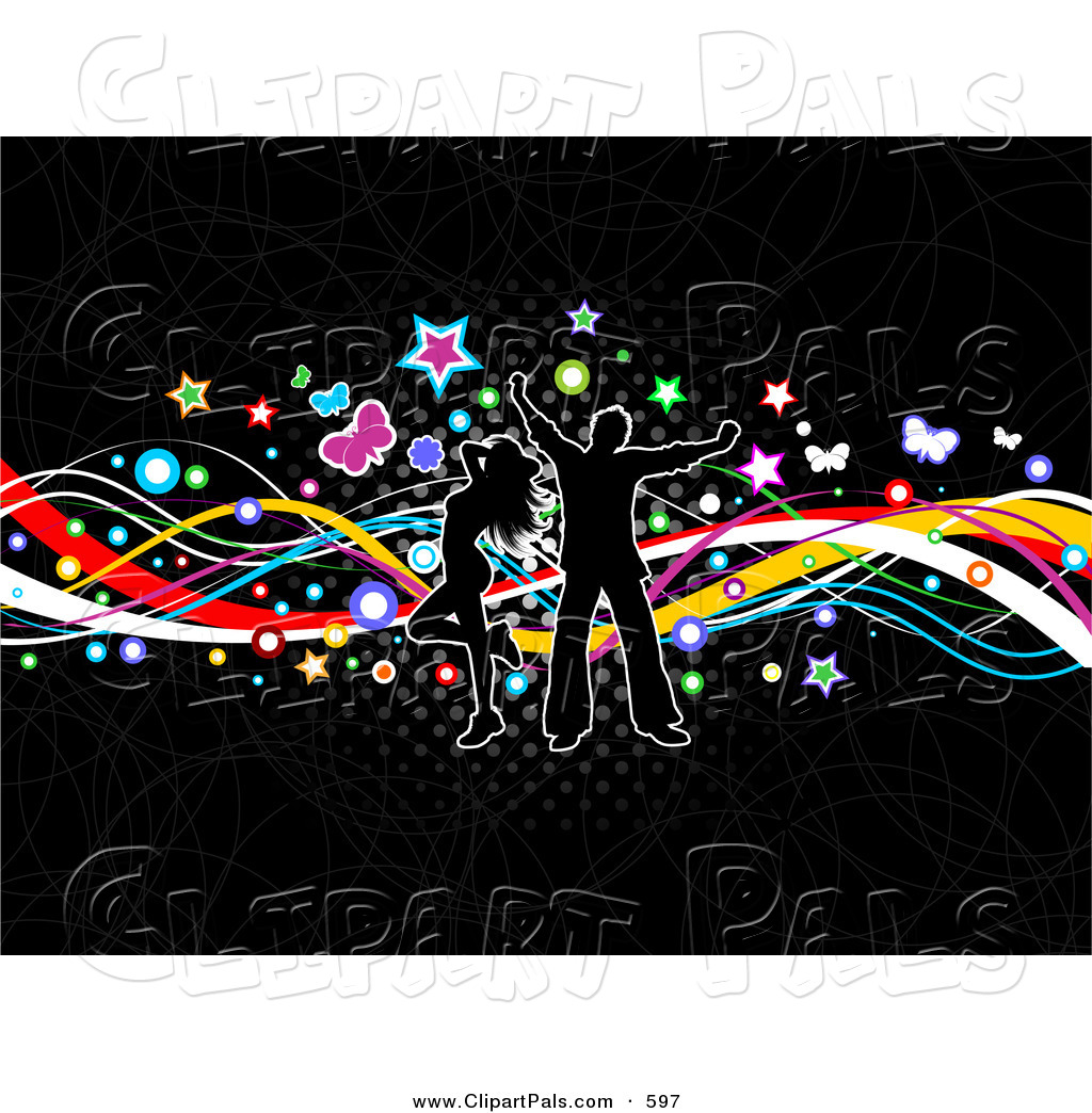Pal Clipart Of A Happy Silhouetted Couple Dancing Over Colorful