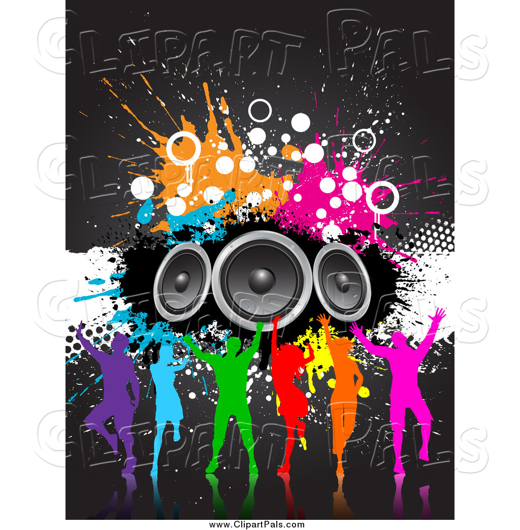 Pal Clipart Of A Silhouetted Colorful Dance Group With Grunge And