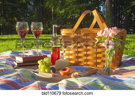 Stock Photograph   Wine Fruit Cheese And Bread At Picnic  Fotosearch