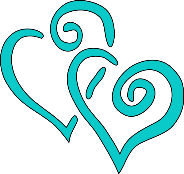 Teal Intertwined Hearts Clip Art At Clker Com   Vector Clip Art Online
