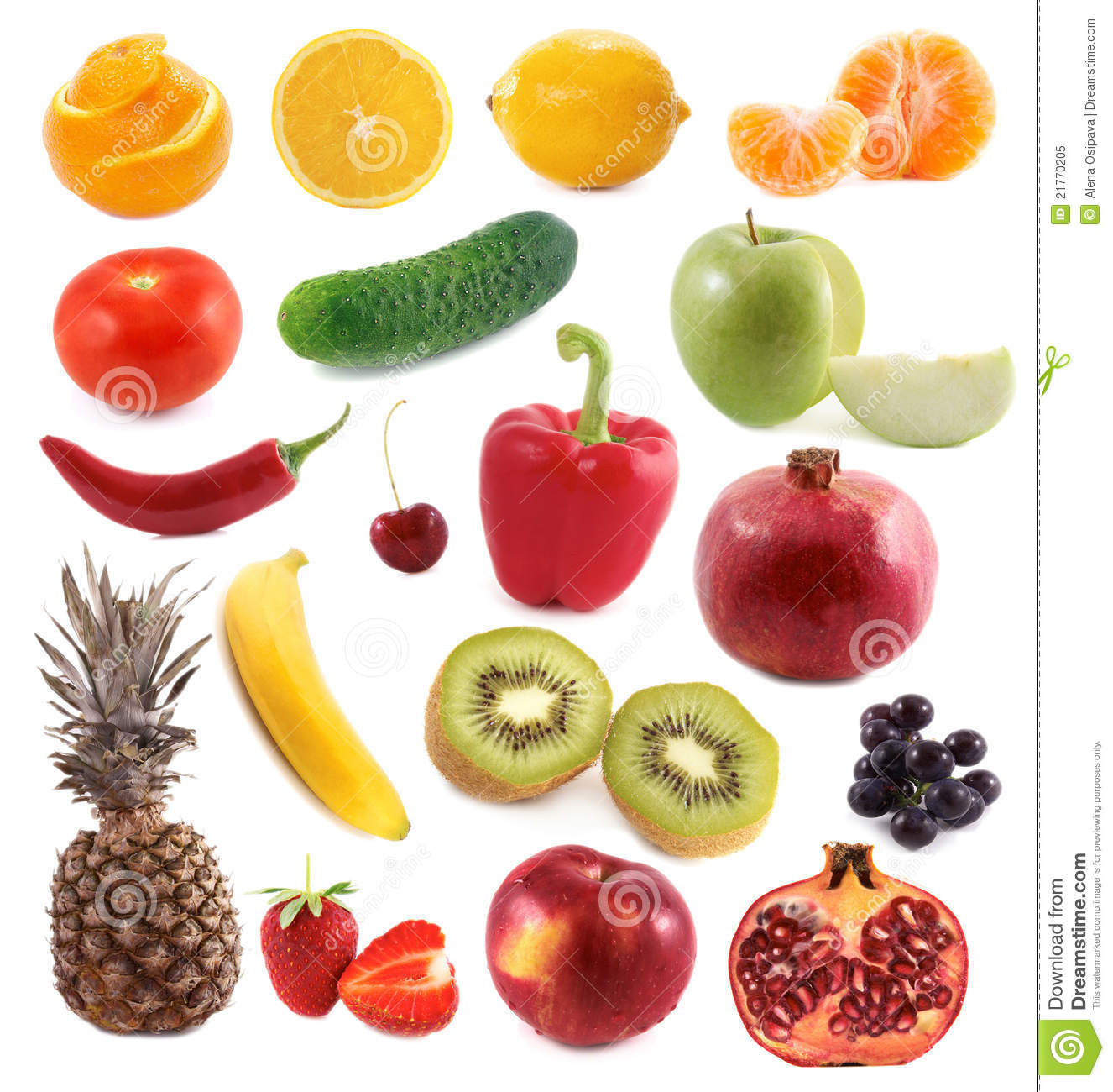 Variety Fruit Vegetables And Cheese Royalty Free Clipart