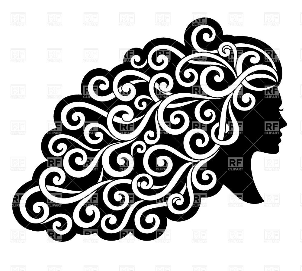 With Curly Ornamented Hair Download Royalty Free Vector Clipart  Eps