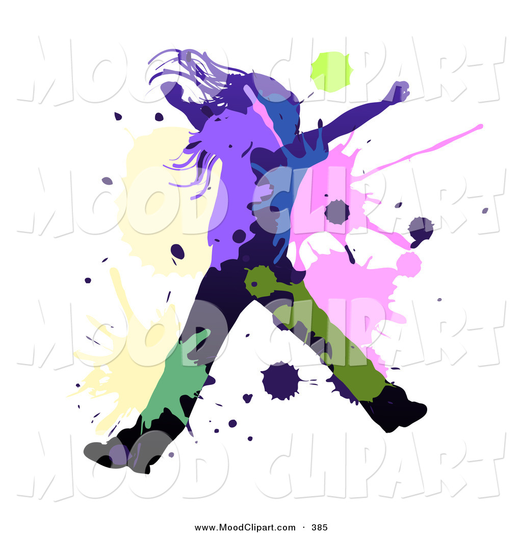 Woman Dancing Or Leaping With Colorful Splatters By Milsiart    385