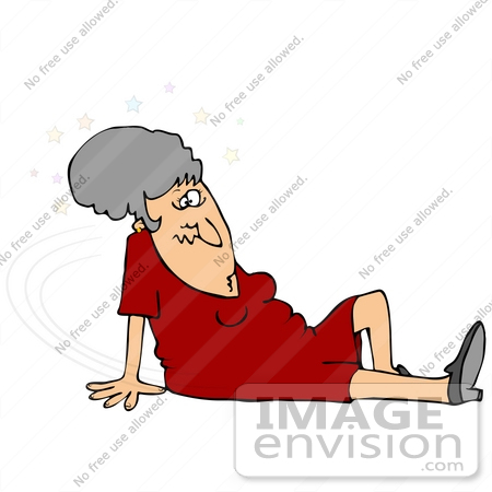 30689 Clip Art Graphic Of A Confused Elderly Caucasian Woman Seeing