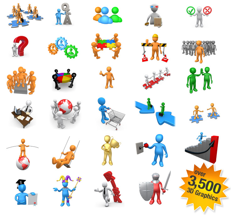 3d Stick Figure Graphics For Microsoft Office  Over 3500 Graphics
