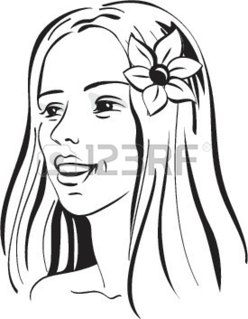 Art Black And White 681301 Beautiful Girl With Flower In Hair Black