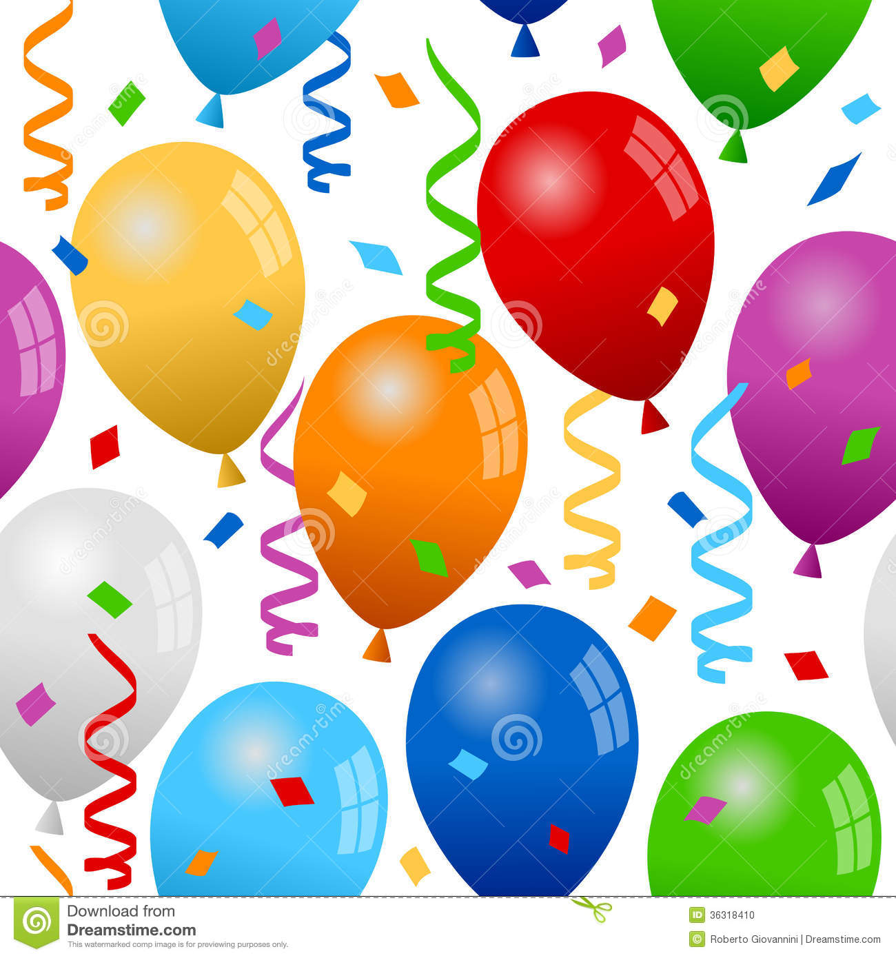Balloons And Confetti Seamless Pattern Stock Photo   Image  36318410