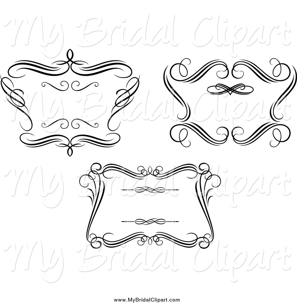 Bridal Clipart Of Black And White Swirl Wedding Frames