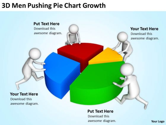 Business People Clipart 3d Men Pushing Pie Chart Growth Powerpoint