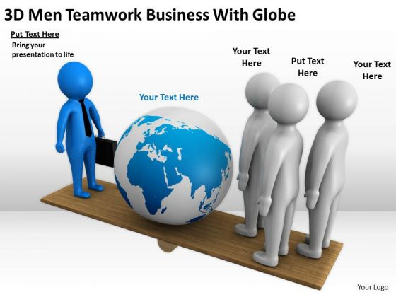 Business People Clipart 3d Men Teamwork With Globe Powerpoint