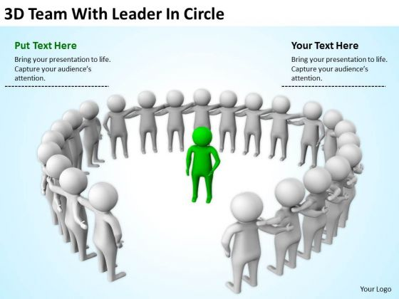 Business People Clipart 3d Team With Leader Circle Powerpoint Slides