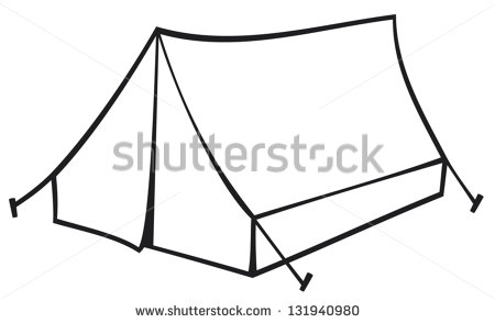 Camping Tent Clipart Black And White Tourist Tent For Travel And