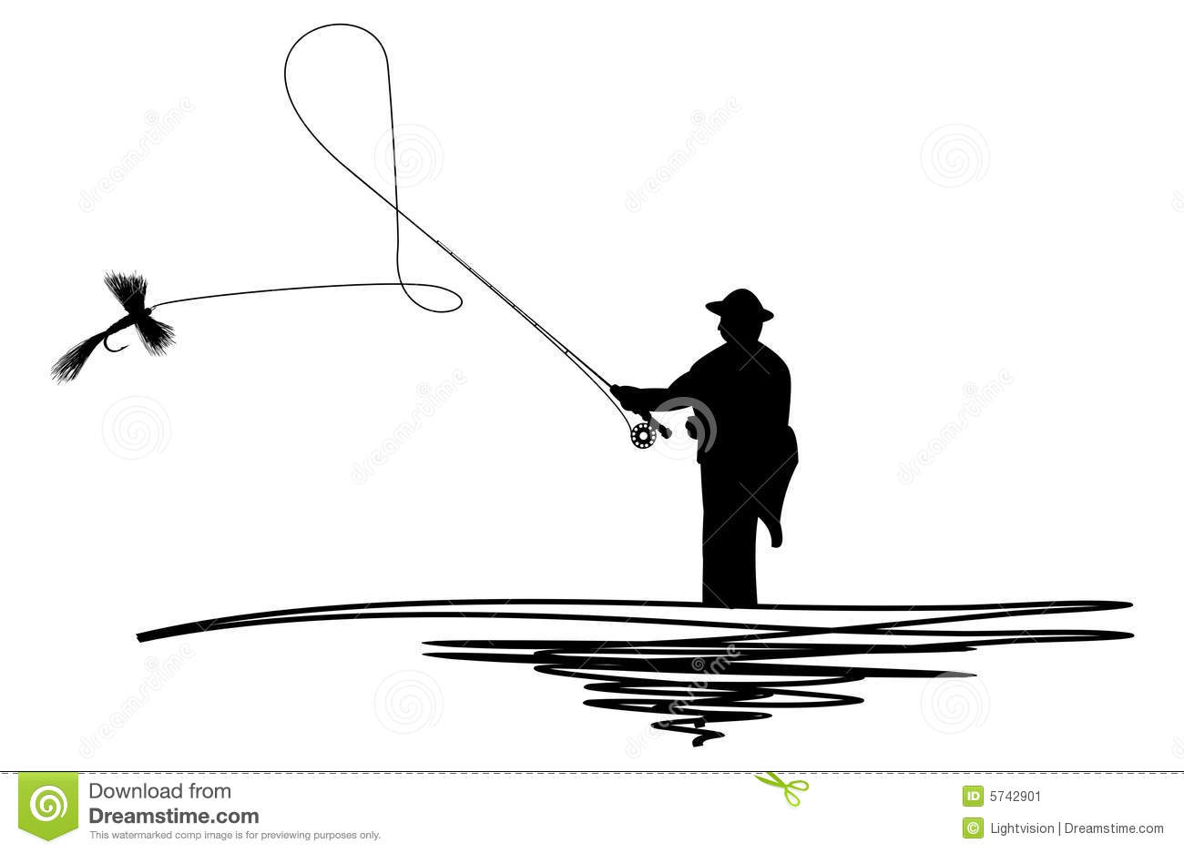 Fisherman silhouette clipart clipart suggest for Fly fishing casting