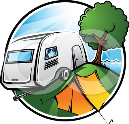 Clip Art Camping With Retro Rv Dad And Son Out Fishing Clipart   Free