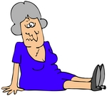 Clipart Illustration Of A Gray Haired Lady In A Blue Dress Dazed And