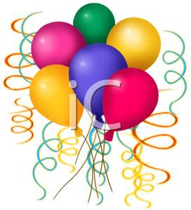 Colored Balloons With Streamers   Royalty Free Clipart Picture