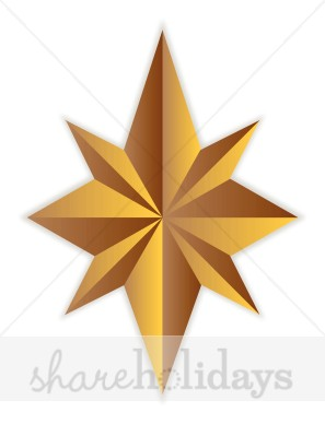 Gold Star Christmas Tree Topper   Christmas Ornament Clipart