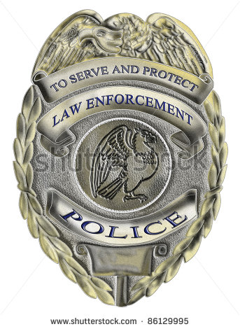 Officer Law Enforcement Badge Showing An American Eagle   Stock Photo