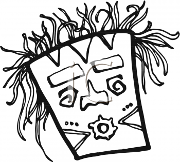 Royalty Free Clipart Image  Black And White Tiki Mask With Wild Hair