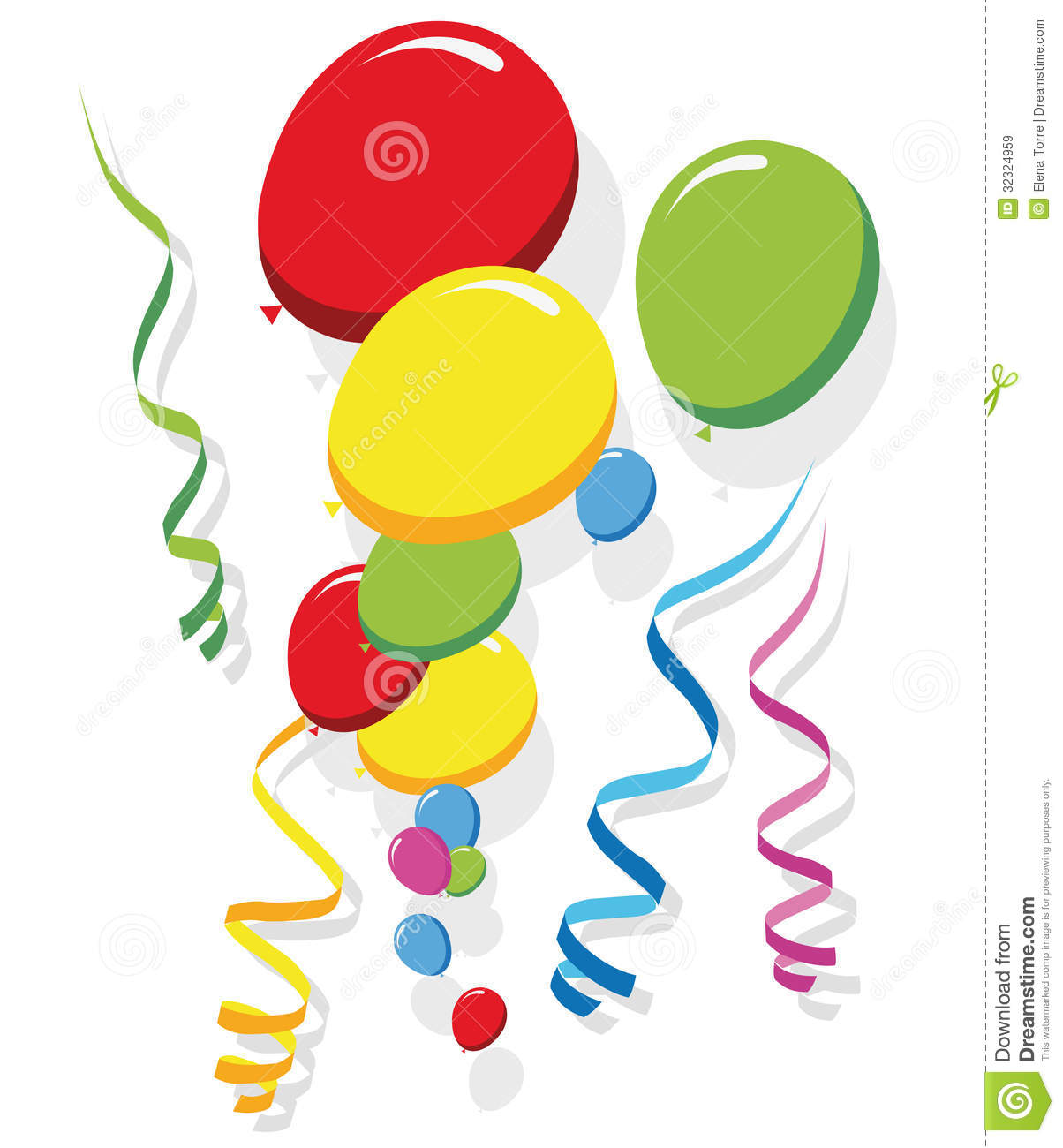 Streamers Clipart Balloons And Streamers Vector