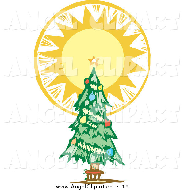 Trimmed Christmas Tree With A Bright Shining Tree Topper Star On White