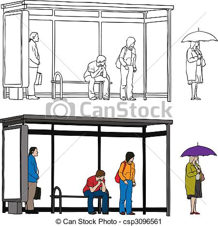 Vector Clip Art Of Bus Stop   Vector Sketch Of Bus Stop With Blank