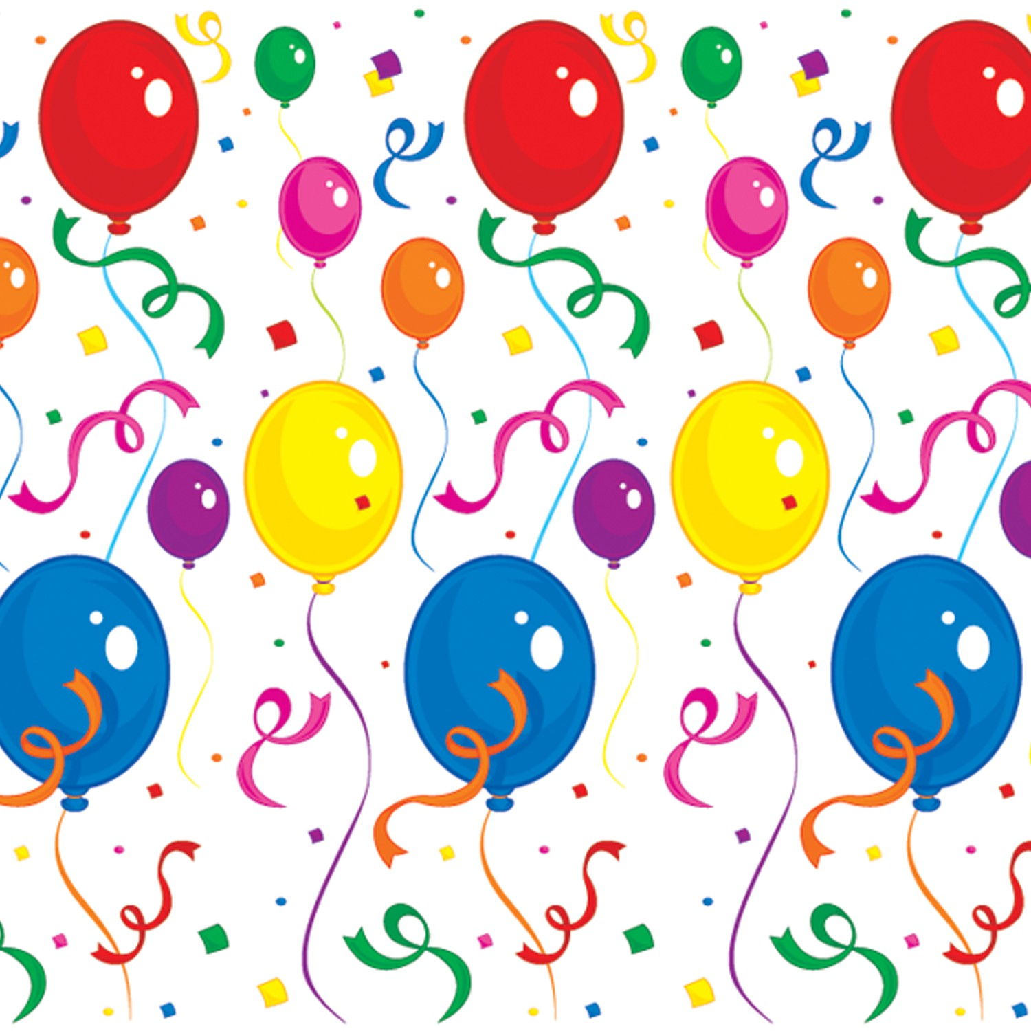 Balloons   Confetti Vinyl Backdrop 122cm Birthday Party Decorations