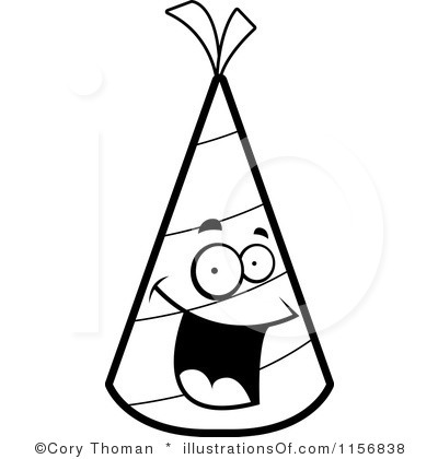 Party Hat Black And White Clipart - Clipart Suggest