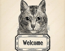Cat Welcome Sign   Instant Download   French Clipart   Printable Image