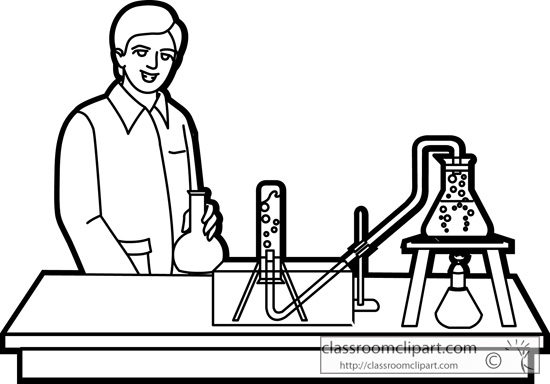 Chemistry Students Lab Experiment Outline   Classroom Clipart