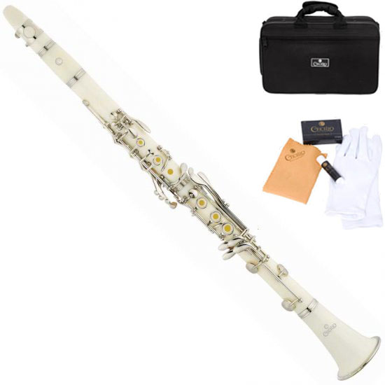 Clarinet Black And White Cecilio Ct 28w White Clarinet