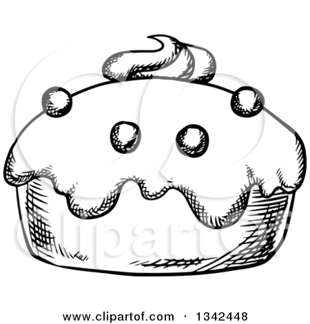 Clipart Of A Cartoon Cupcake Character   Royalty Free Vector